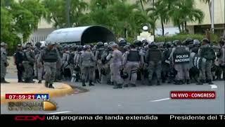 Dispositivo Policial y Militar en el Congreso Nacional ante anuncio de marcha este miércoles