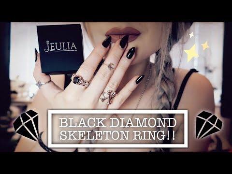 Jeulia - Black Diamond & Silver Gothic Skeleton Ring !!