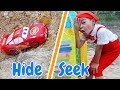 Download Lagu Car toy Lightning Mcqueen plays Hide and seek with Dave Mario & brother Mp3 Free