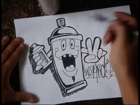HOW TO DRAW A SIMPLE SPRAYCAN CHARACTER.