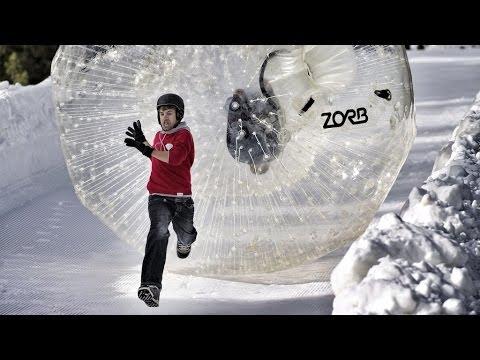 超刺激好玩的雪地人肉保龄球!