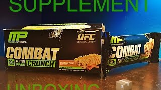 Unboxing of Musclepharm's Combat Crunch Bars Cinnamon Twist.