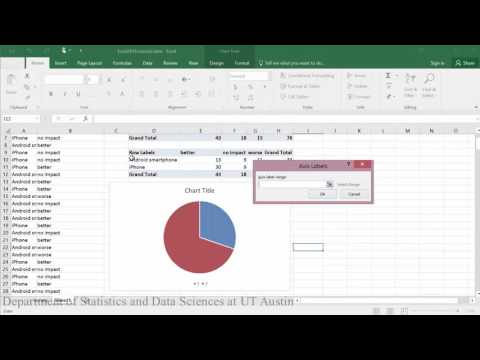 Contingency Tables and Pie Charts in Excel 2016