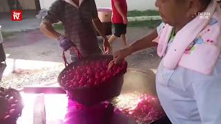 Devotees boiled 100,000 red eggs in conjunction to celebrate the birthday of its deity, Datuk Tua at Datuk Kong Teng Sin Hooi Temple on Tuesday.