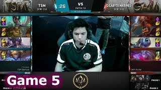 TSM vs GAM Game 5 2017 Lol eSports Mid-Season Invitational/Play-In lol. MSI 2017 GAM vs TSM G5 VOD. 2017 MSI full playlist: http://bit.ly/MSI-2017 League of Legends Season 7 Mid-Season Invitational Play-In in Brazil - Round Robin.Fifth match of the day - TSM vs Gigabyte Marines best of 5 Game 5. TSM vs GAM.Team Solomid Line-up:Hauntzer - top RenektonSvenskeren - jungle IvernBjergsen - mid SyndraWildTurtle - ADC EzrealBiofrost - support KarmaGigabyte Marines Line-up:Stark - top RumbleLevi - jungle GravesOptimus - mid FizzSlay - ADC VarusArchie - support GragasPatch: 7.8 - Season 7 Game date: 03.05.2017  05/03/2017  May 3rd 2017Game place: BrazilCasters: Vedius and Captain FlowersThere are more playlists in the playlist section on the channel!You can always follow all games from both channels and news/updates on my FB page - facebook.com/EpicskillshotPlease like/share/comment and sub if you haven't yet - it helps a lot!Follow me on Twitter: www.twitter.com/epicskillshot