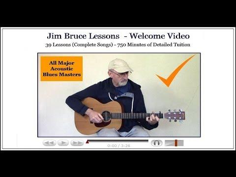 Learn blues guitar acoustic – Blues in A – Jim Bruce