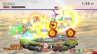 Bayonetta gets 890k in Trophy Rush (with jump boosting equipment)