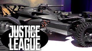 We get a tour of the new R/C Justice League Batmobile from the film. It's a massive R/C Toy Car that has real smoke, moveable guns, engine sounds and moves very fast.