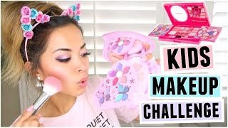 FULL FACE USING ONLY KIDS MAKEUP Challenge! by ThatsHeart