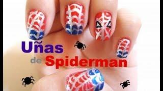 uñas linda nails beautiful spiderman hombre araña easy faciles bonitas simples de hacer