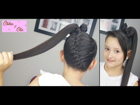 Trenza Diagonal terminada en Lazo Alto! - Diagonal Braid into Ponytail Bow!   Chikas Chic (видео)