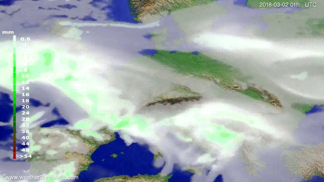 Precipitation forecast Europe 2018-02-27