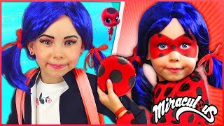 Alice in Costumes Marinette & Ladybug Pretend Play superhero in real life