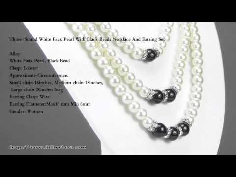 ThreeStrand White Faux Pearl With Black Beads Necklace And Earring Set