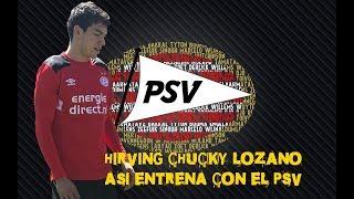 Chucky Lozano , entrenando en Eindhoven con Cocu , Van Nistelrooy , Zenden y Hesp