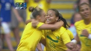 Full replay of Brazil's 5-0 victory over Cameroon in the Women's Football Group E match at the Millennium Stadium during the...