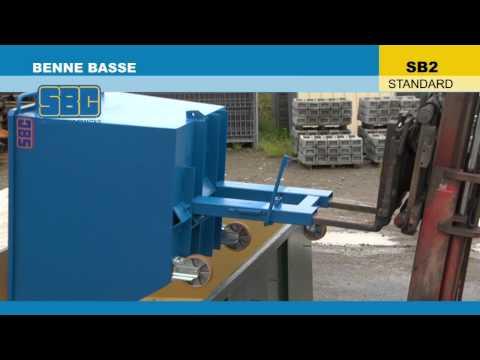Video Youtube Benne basculante basse - Capacité 500 à 1200 litres - Charge inférieure à 1800 kg