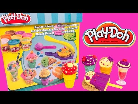 Play Doh Scoops 'n Treats DIY Ice Cream Cones Popsicles Sundaes, Waffles Play Dough Hasbro Toys