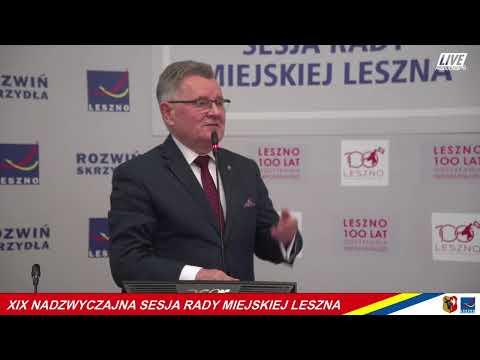 Wideo1: XIX Nadzwyczajna Sesja Rady Miejskiej Leszna - zapis video