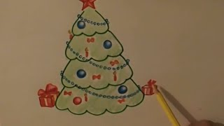 как нарисовать ель, для малышей, Colour pencil drawing, spruce, for kids
