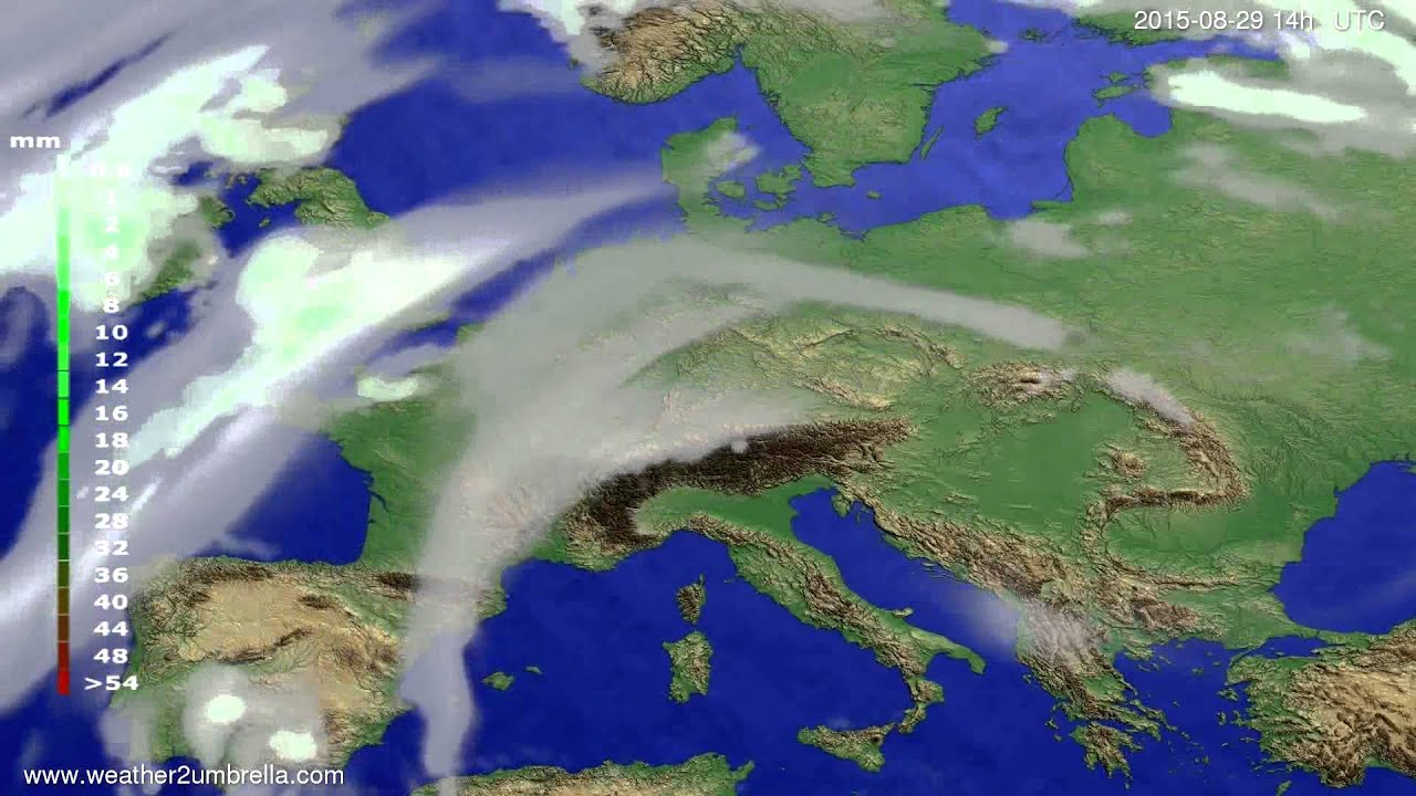 Precipitation forecast Europe 2015-08-25