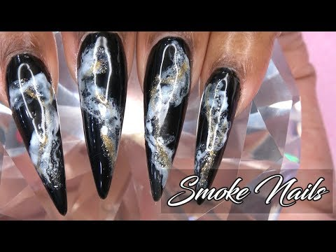 Gel nails - Smoke Nails  Polygel Update  Refill and Redesign  LongHairPrettyNails
