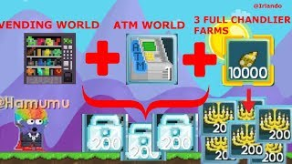 HACKING VEND WORLD + ATM WORLD + 3x CHANDLIER FARM WORLDS [Best hacked account] - Growtopia ft.Turbo