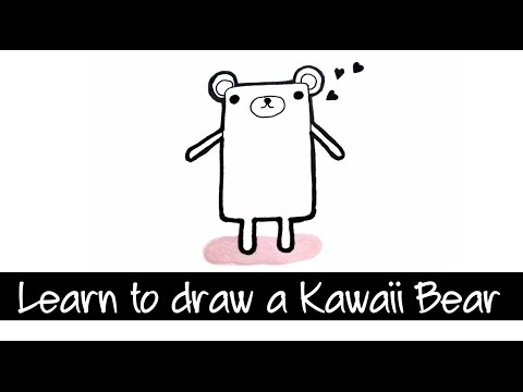 Draw a Kawaii Teddy Bear Step by Step カワイイクマ