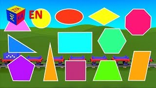 Shapes for children kindergarten preschoolers. Learn about 2D Shapes with Choo-Choo Train - part 1