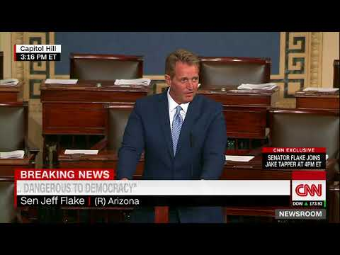 Sen. Jeff Flake announces retirement with fiery speech (видео)