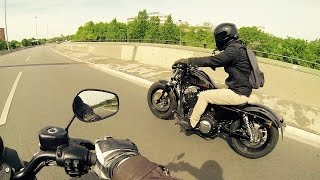 8. Harley Davidson Iron 883 vs Forty Eight 1200 - Acceleration  [1080p]