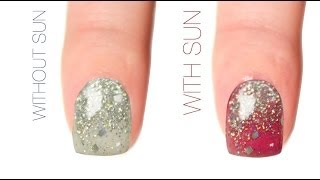 Glitter Gradient Color-Changing Nail Art Design