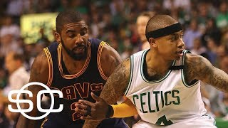 Adrian Wojnarowski joins SportsCenter to report that the Cleveland Cavaliers and Boston Celtics are in trade talks for Kyrie Irving, with Isaiah Thomas and Jae ...