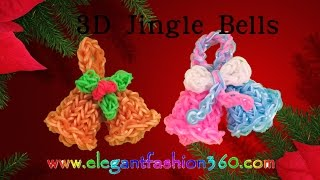 Rainbow Loom Jingle Bells 3D Charms - How To Loom Bands Tutorial/Christmas/Holiday/Ornaments