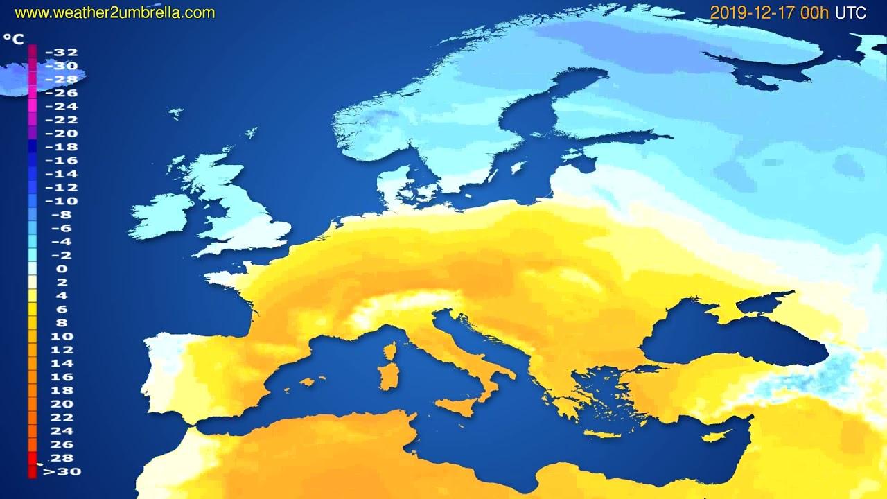 Temperature forecast Europe // modelrun: 00h UTC 2019-12-16