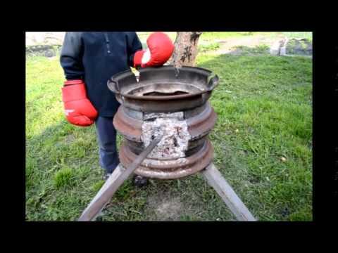 Коптильня горячего копчения из колесных дисков