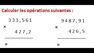 Maths 6ème - Les opérations : Addition Soustraction Multiplication Division Exercice 12