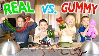 Video GUMMY FOOD VS REAL FOOD CHALLENGE - Kids Eat Real Worms - Super Gross Food ! MP3, 3GP, MP4, WEBM, AVI, FLV November 2017