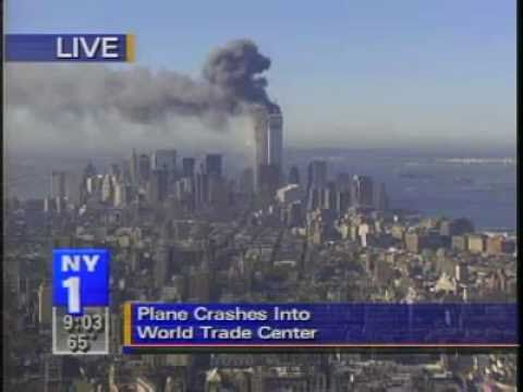 ny1 - 2nd plane impact 9/11 LIVE, World Trade Center South Tower explodes, seen from the Empire State Building.