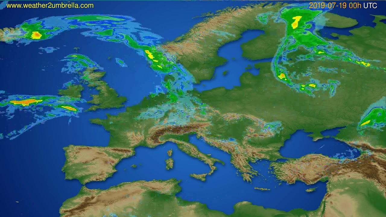 Radar forecast Europe // modelrun: 12h UTC 2019-07-18