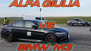 Alfa Romeo Giulia Quadrifoglio vs Tuned BMW M3 on race Gas