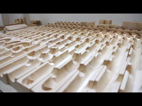 Guy makes amazing homemade marble run blocks