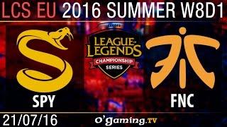 Splyce vs Fnatic - LCS EU Summer Split 2016 - W8D1