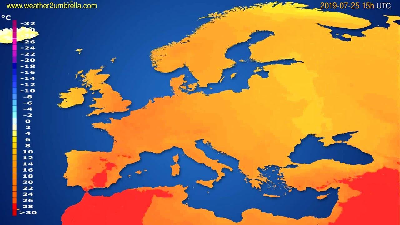 Temperature forecast Europe // modelrun: 12h UTC 2019-07-22
