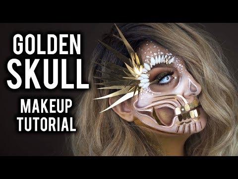 GOLDEN GLAM HALF SKULL | HALLOWEEN COSTUME MAKEUP TUTORIAL