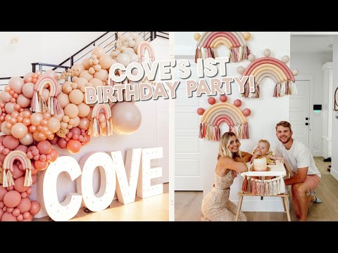 cove's 1st birthday party! setting up, decorating & opening presents!