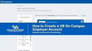 Screenshot of creating a UB On Campus Employer account in Bullseye powered by Handshake