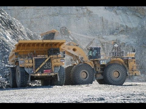 Boliden Aitik Mine north Sweden - Cat 994F loading Cat 793D