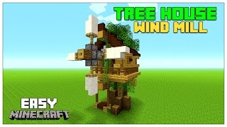 Minecraft Tutorial: How To Build A Small Tree house | Survival Wind Mill (Step By Step, Easy) 2016