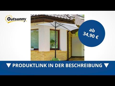 Outsunny Alu Sonnenschirm Kurbelschirm halbrund creme - direkt kaufen!